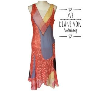 NWT Authentic DVF 100% Silk Multi Color Dress 12